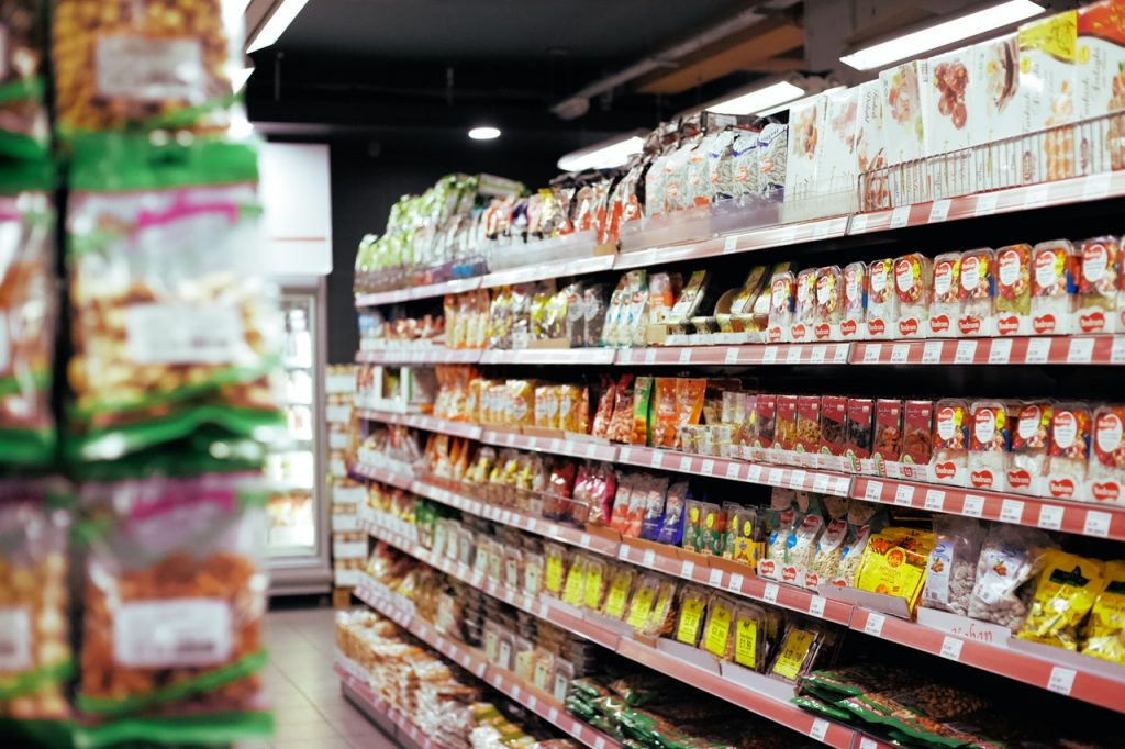 grocery store product shelving