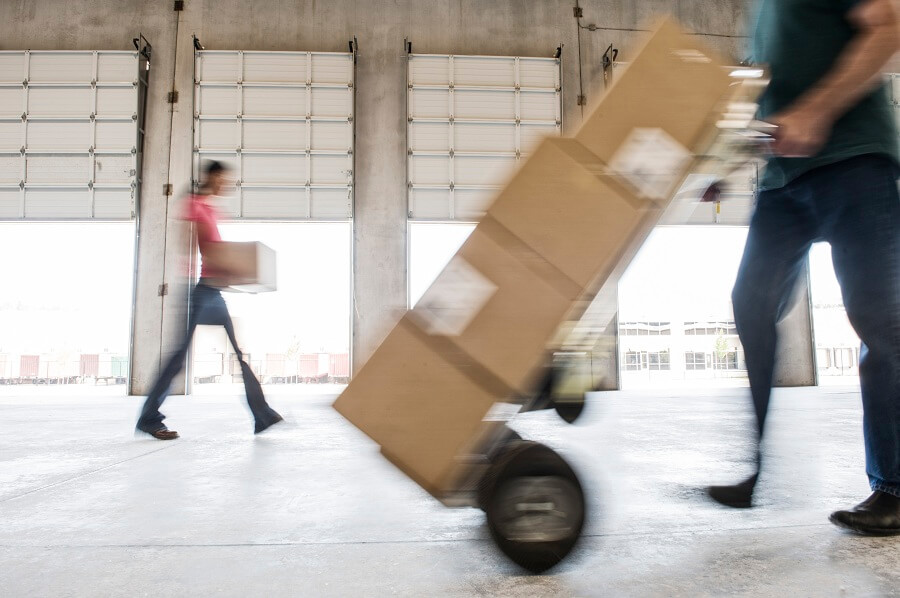 boxes being moved into a warehouse